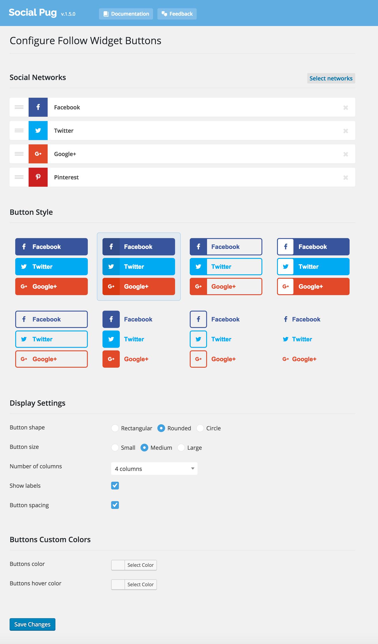 Follow Widget Settings Page