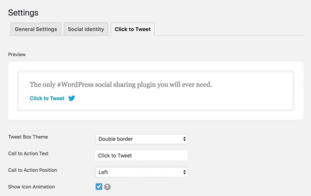 social pug click to tweet settings page